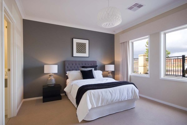 Ashbourne main bedroom feature painted wall custom villa home
