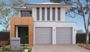 Holdfast Front Elevation Panel Lift Door and trees